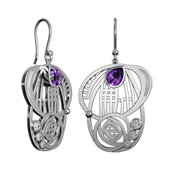 Charles Rennie Mackintosh earrings with amethysts & czs Aspect. Stainless steel. Cairn CG 431LAC