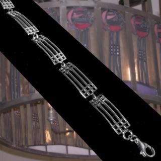 """Cairn 501 Silver Rennie Mackintosh Bracelet - """"Lattice"""". Tarnish Resistant. British Made. Rennie Mackintosh Jewellery."""