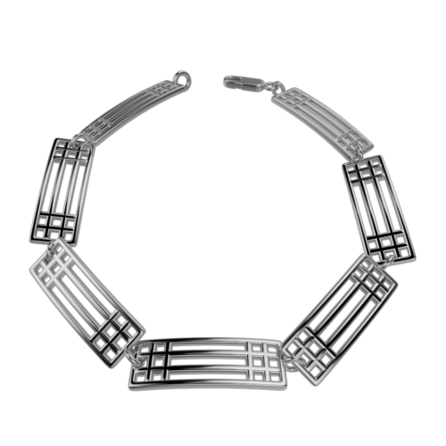 "Charles Rennie Mackintosh Bracelet ""Lattice"". Sterling Silver. Tarnish Resistant. Cairn 501"