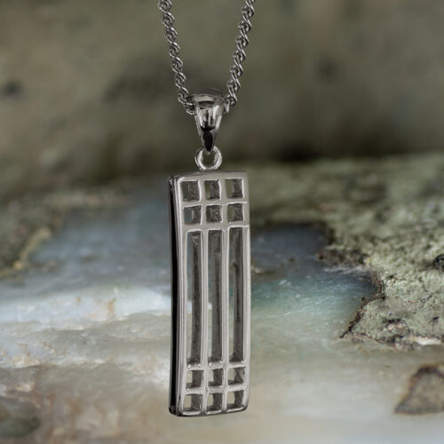 "Sterling Silver Charles Rennie Mackintosh Pendant ""Lattice"". Tarnish Resistant. Cairn 502"