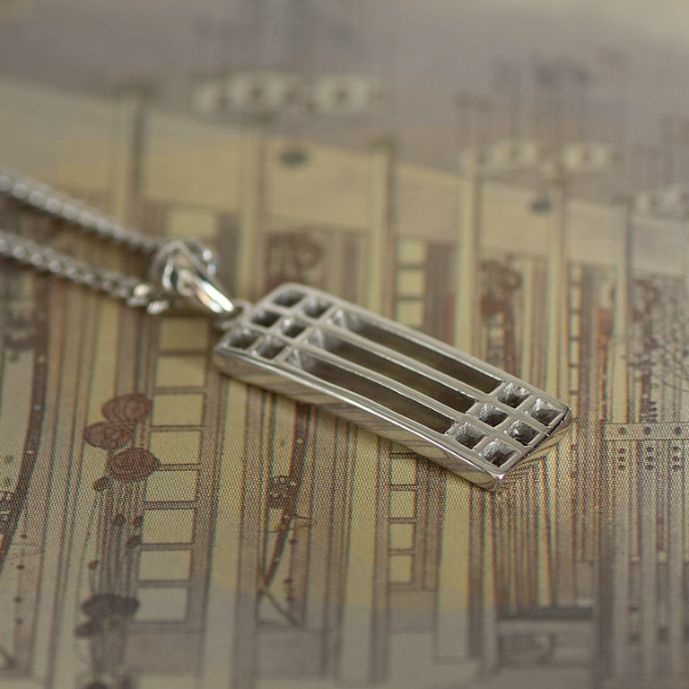 "Charles Rennie Mackintosh Necklace ""Lattice"". Sterling Silver. Tarnish Resistant. Cairn 502"