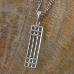 "Cairn 502 Silver Rennie Mackintosh Pendant - ""Lattice"". Tarnish Resistant. British Made. Rennie Mackintosh Jewellery."