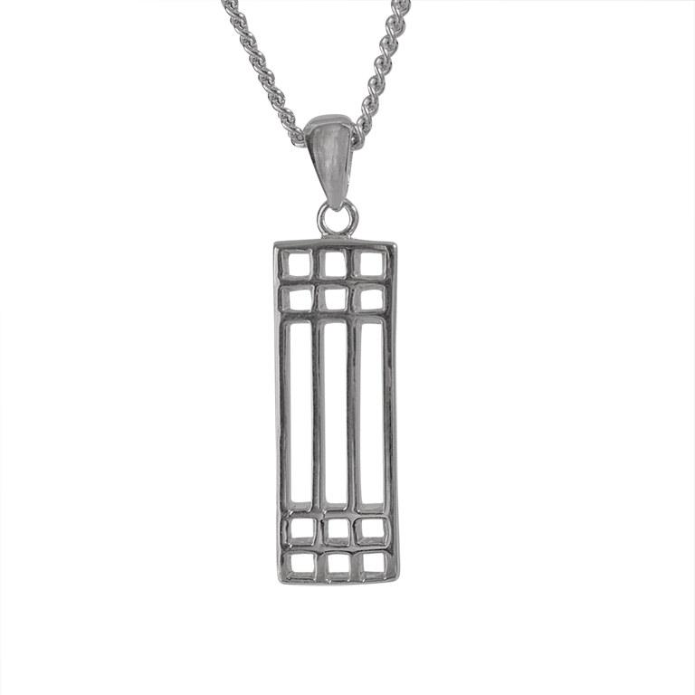 "Charles Rennie Mackintosh Necklace ""Lattice"". Sterling Silver. Tarnish Resistant. Cairn 502"