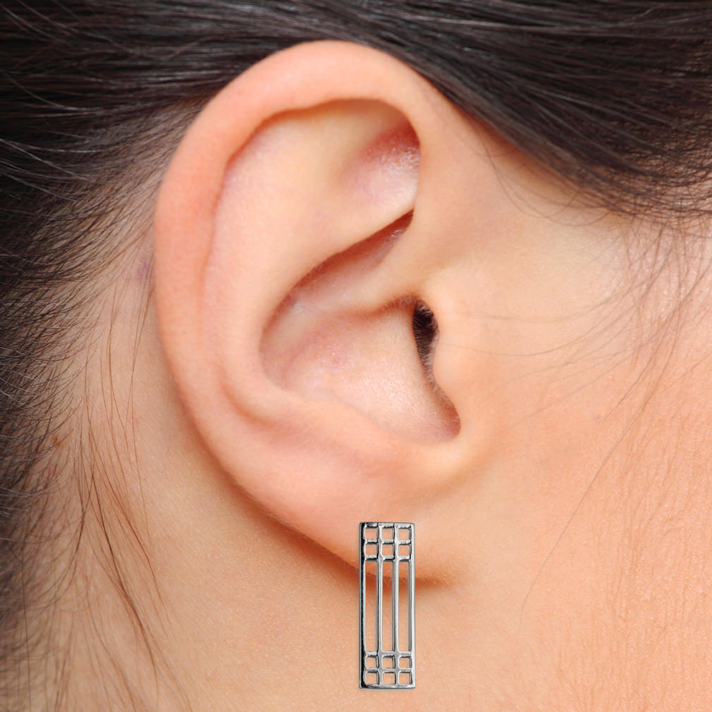 "Charles Rennie Mackintosh Earrings ""Lattice"". Sterling Silver. Tarnish Resistant. Cairn 503"