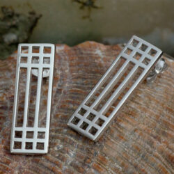 "Cairn 503 Silver Rennie Mackintosh Earrings - ""Lattice"". Tarnish Resistant. British Made. Rennie Mackintosh Jewellery."