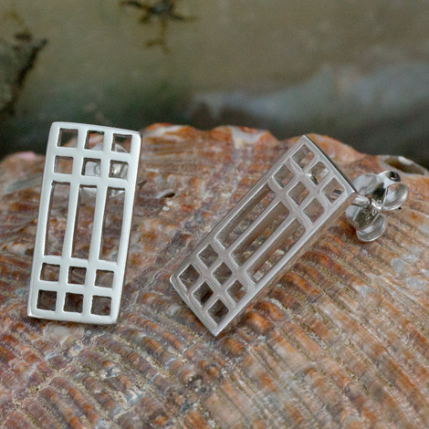 "Cairn 504 Silver Rennie Mackintosh Earrings - ""Lattice"". Tarnish Resistant. British Made. Rennie Mackintosh Jewellery."