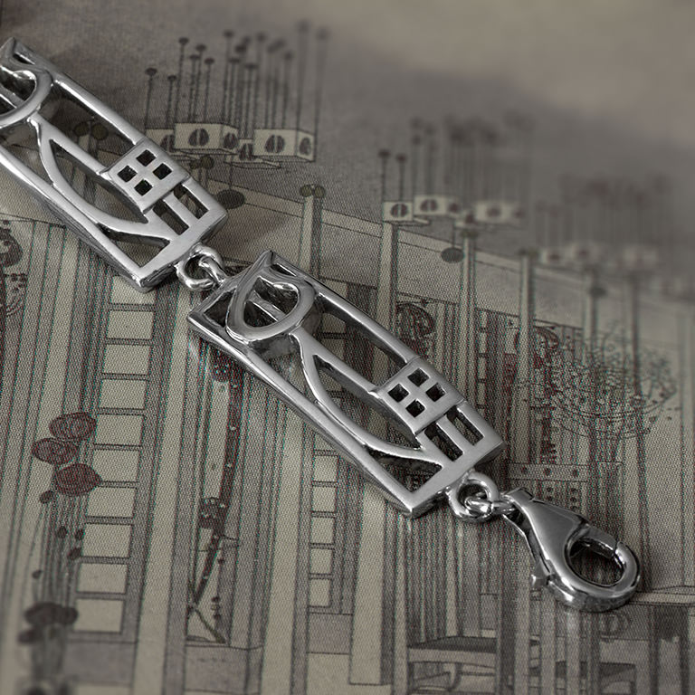 "Charles Rennie Mackintosh Bracelet ""Cranston"". Sterling Silver. Tarnish Resistant. Cairn 521"