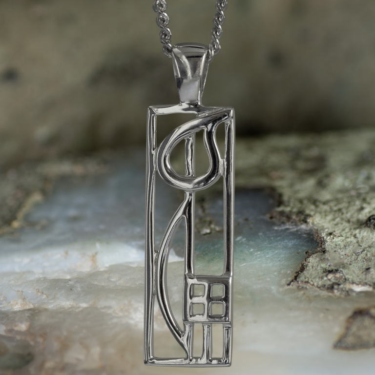 "Sterling Silver Charles Rennie Mackintosh Pendant ""Cranston"". Tarnish Resistant. Cairn 522"