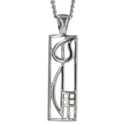 """Cranston"" silver necklace. Charles Rennie Mackintosh. Cairn pendant 522"