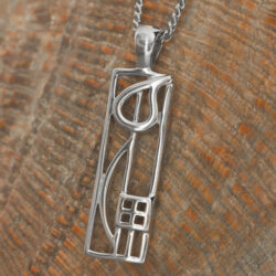 "Cairn 522 Silver Rennie Mackintosh Pendant - ""Cranston"". Tarnish Resistant. British Made. Rennie Mackintosh Jewellery."