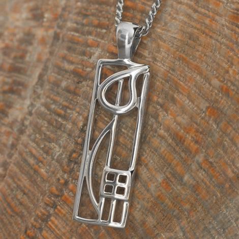 """Cairn 522 Silver Rennie Mackintosh Pendant - """"Cranston"""". Tarnish Resistant. British Made. Rennie Mackintosh Jewellery."""