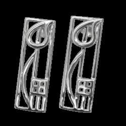 """Cranston"" silver earrings. Charles Rennie Mackintosh. Cairn 523"