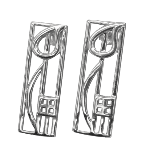 """Cranston"" silver earrings. Charles Rennie Mackintosh. Cairn 523"