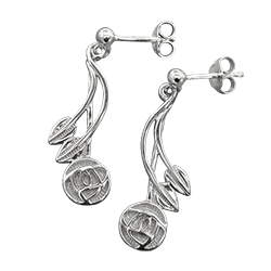 Charles Rennie Mackintosh earrings Willow. Sterling silver. Cairn 543