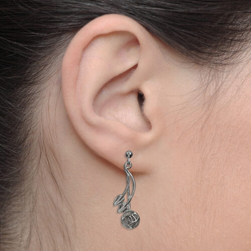"""Charles Rennie Mackintosh Earrings """"Willow"""". Sterling Silver. Tarnish Resistant. Cairn 543"""