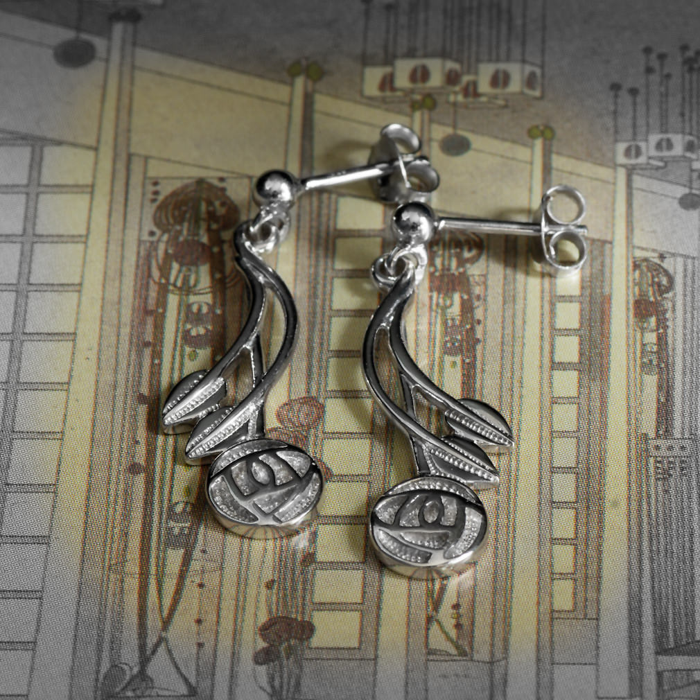 """Charles Rennie Mackintosh Earrings """"Willow"""". Sterling Silver. Cairn 543"""