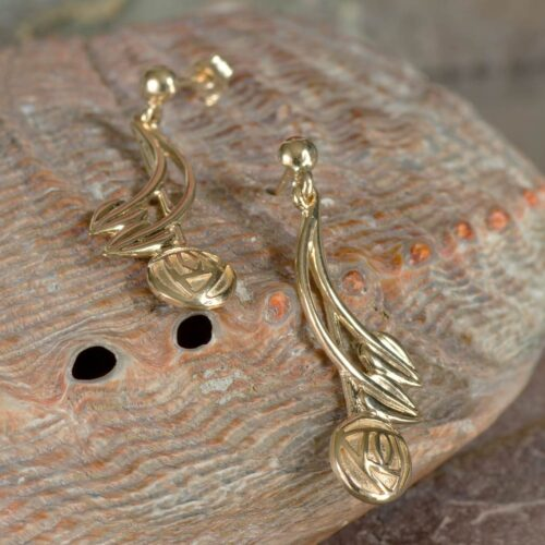 """9ct Gold Charles Rennie Mackintosh Earrings """"Willow"""". British Made. 3"""