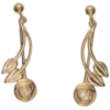 "Cairn 543G 9ct Gold Charles Rennie Mackintosh Earrings ""Willow"". British Made."