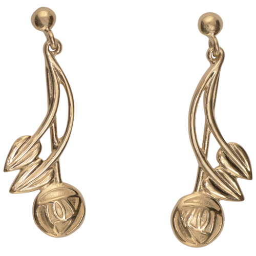 """Cairn 543G 9ct Gold Charles Rennie Mackintosh Earrings """"Willow"""". British Made."""