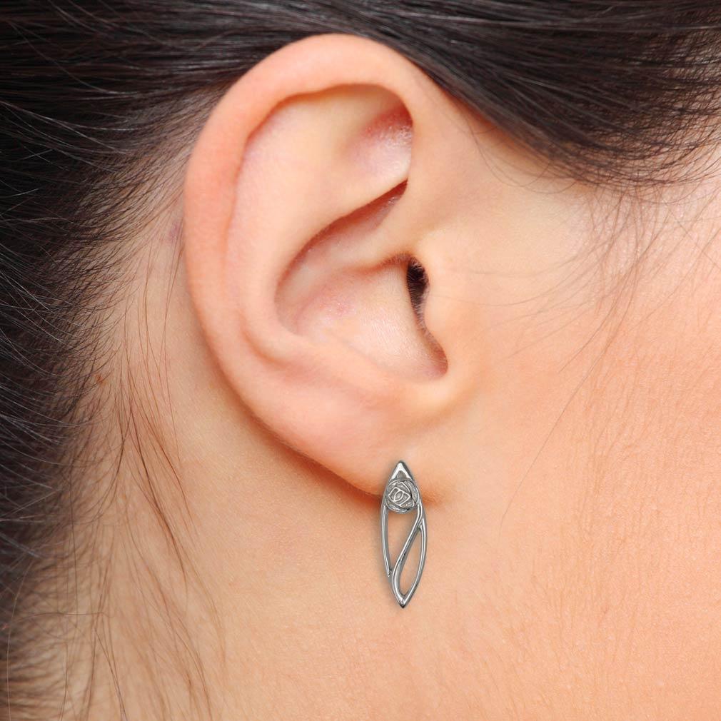 "Charles Rennie Mackintosh Earrings ""Buchanan"". Sterling Silver. Tarnish Resistant. Cairn 553"