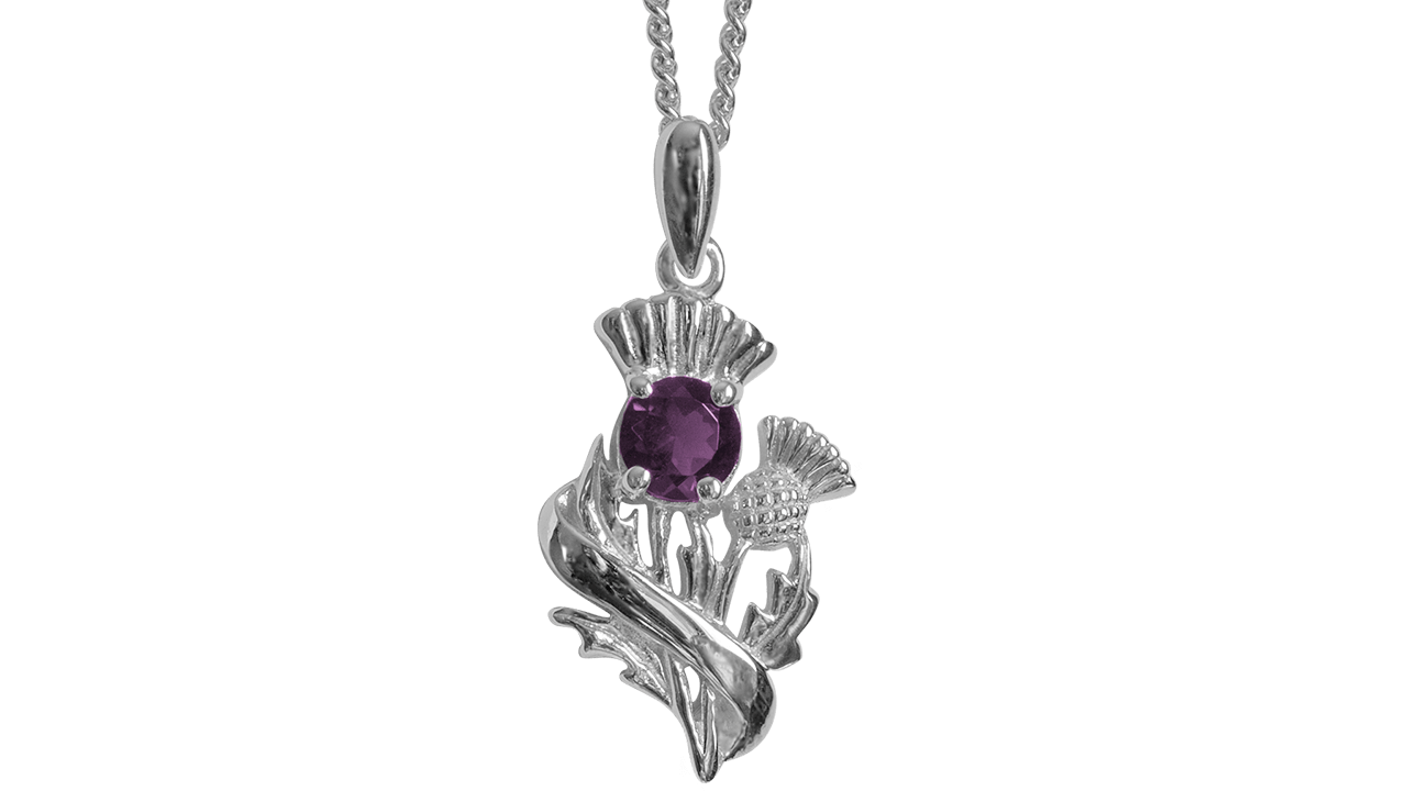 """Real Amethyst Sterling Silver Scottish Thistle Pendant """"Doune"""" 55520"""