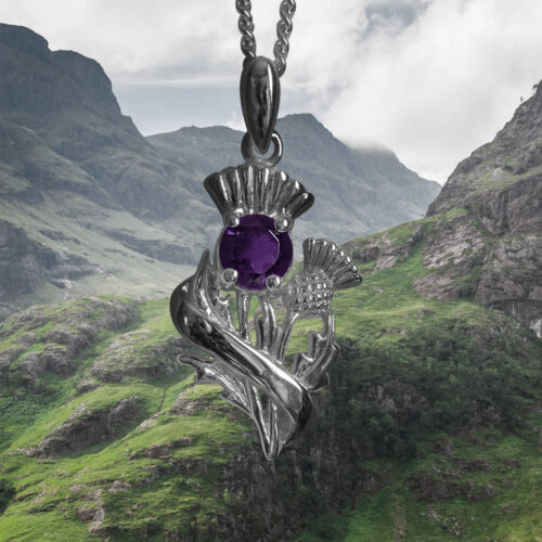 "Real Amethyst Sterling Silver Scottish Thistle Pendant ""Doune"" 55520"