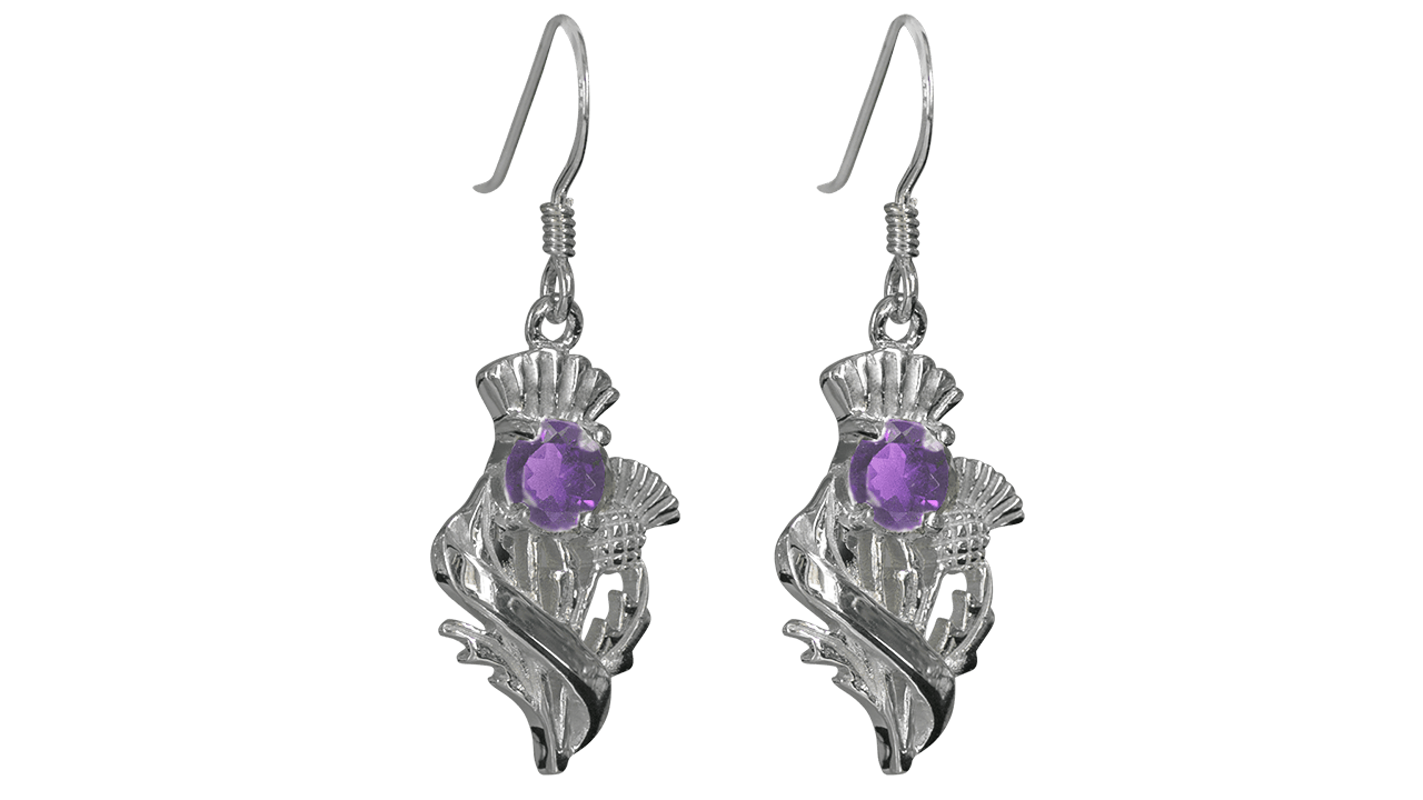 """Real Amethyst Sterling Silver Scottish Thistle Earrings """"Doune"""" 55525"""