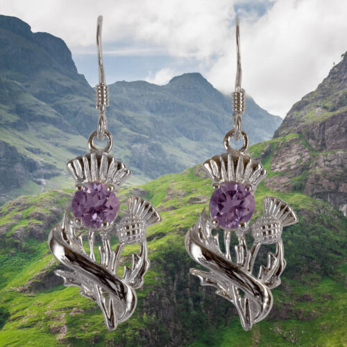 "Real Amethyst Sterling Silver Scottish Thistle Earrings ""Doune"" 55525"