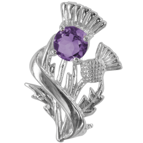 "Sterling Silver Scottish Thistle Brooch ""Doune"" With Amethyst 55527"