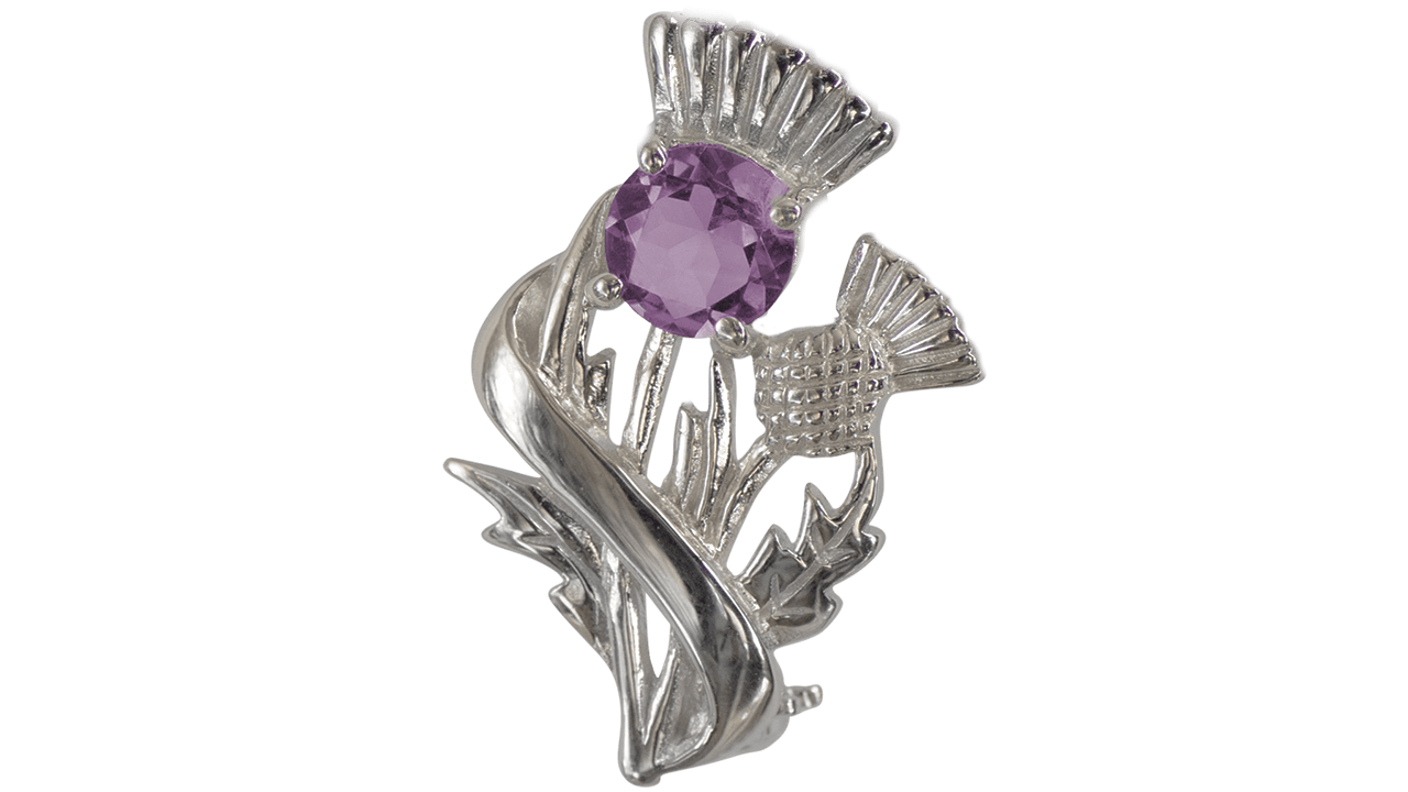 "Real Amethyst Sterling Silver Scottish Thistle Brooch ""Doune"" 55527"
