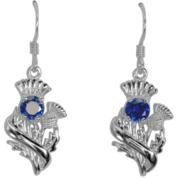 "Sterling Silver Thistle Earrings ""Doune"" With Royal Blue Sapphires 55535"