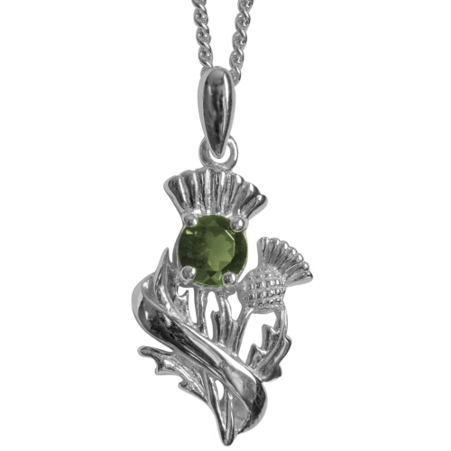 "Sterling Silver Thistle Pendant ""Doune"" With Peridot 55540"