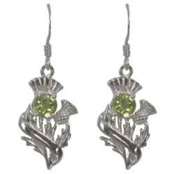 "Sterling Silver Thistle Earrings ""Doune"" With Peridots 55545"