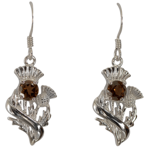 "Sterling Silver Thistle Earrings ""Doune"" With Smoky Quartz (Cairngorm) 55555"