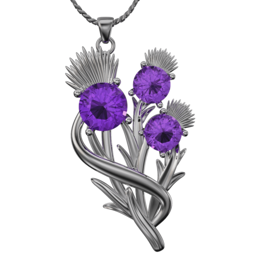 Scottish thistle pendant with amethysts Croy. Sterling Silver Cairn CG 5590