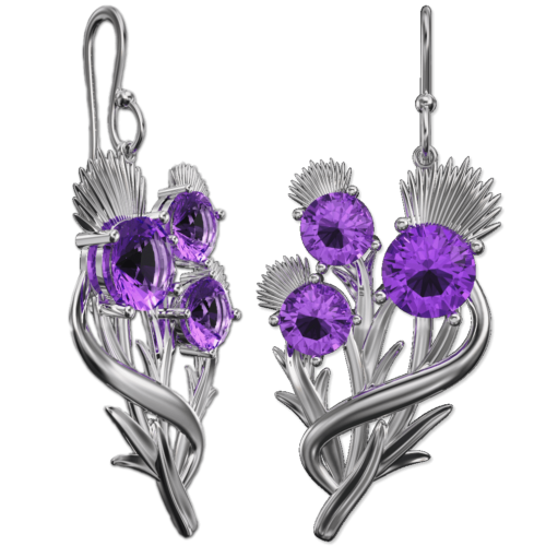 Scottish thistle earrings with amethysts Croy. Sterling Silver Cairn CG 5595