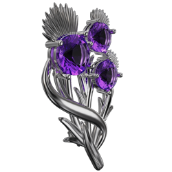 Scottish thistle brooch with amethysts Croy. Sterling Silver Cairn CG 5597
