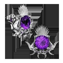 5705 silver thistle emblem earrings