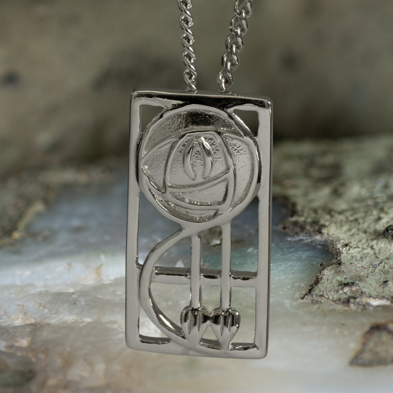 "Sterling Silver Charles Rennie Mackintosh Pendant ""Keppie"". Tarnish Resistant. Cairn 571"