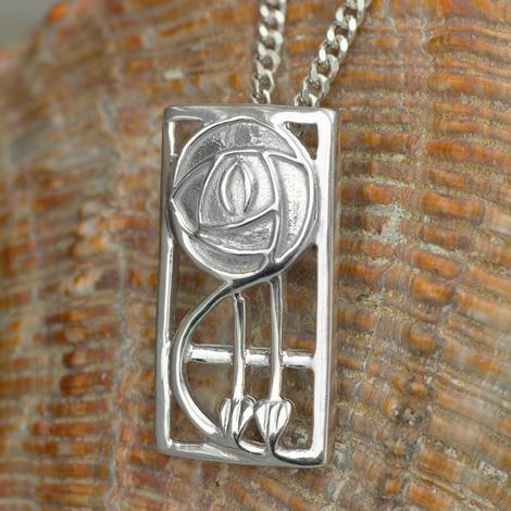 """Cairn 571 Silver Rennie Mackintosh Pendant - """"Keppie"""". Tarnish Resistant. British Made. Rennie Mackintosh Jewellery."""