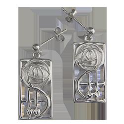 """Keppie"" silver earrings. Charles Rennie Mackintosh. Cairn 573"