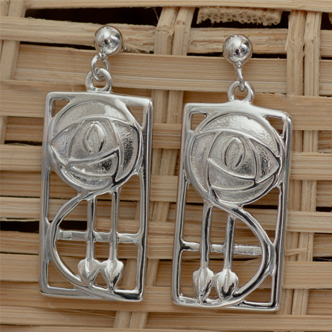 "Cairn 573 Silver Rennie Mackintosh Earrings - ""Keppie"". Tarnish Resistant. British Made. Rennie Mackintosh Jewellery."