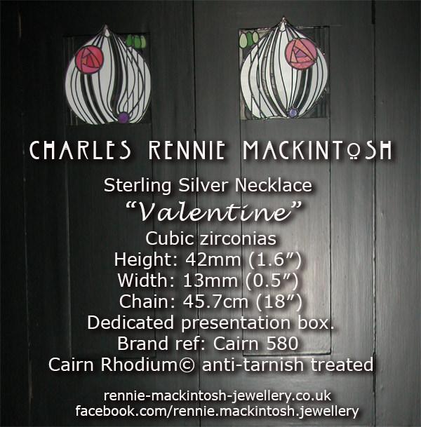 Cairn Silver Charles Rennie Mackintosh Necklace - Valentine - Cubic zirconias. Tarnish Resistant. 580