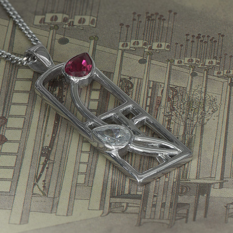 "Long Charles Rennie Mackintosh Necklace ""Valentine"" Ruby & ""White"" CZs. Sterling Silver. Tarnish Resistant. Cairn 580"