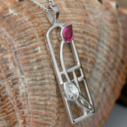 "Cairn 580 Long Silver Rennie Mackintosh ""Valentine"" Pendant - Ruby & ""White"" CZs. Tarnish Resistant. British Made. Rennie Mackintosh Jewellery."