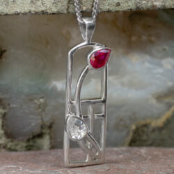 "Cairn 580 Long Silver Rennie Mackintosh ""Valentine"" Pendant - Ruby & ""White"" CZs 2"