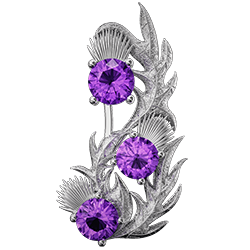 Scottish thistle brooch with amethysts Nectar. Sterling Silver Cairn CG 5807