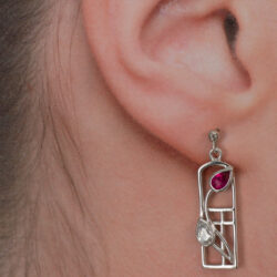 "Cairn 581 Silver Rennie Mackintosh ""Valentine"" Earrings - Ruby & ""white"" czs. Tarnish Resistant. British Made. Rennie Mackintosh Jewellery."