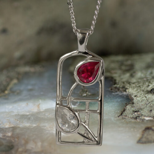 "Sterling Silver Charles Rennie Mackintosh ""Valentine"" Necklace Ruby & ""white"" czs. Tarnish Resistant. Cairn 584"