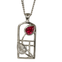"Mackintosh Necklace ""Valentine"" Ruby & ""White"" Czs. Tarnish Resistant. Cairn 584"
